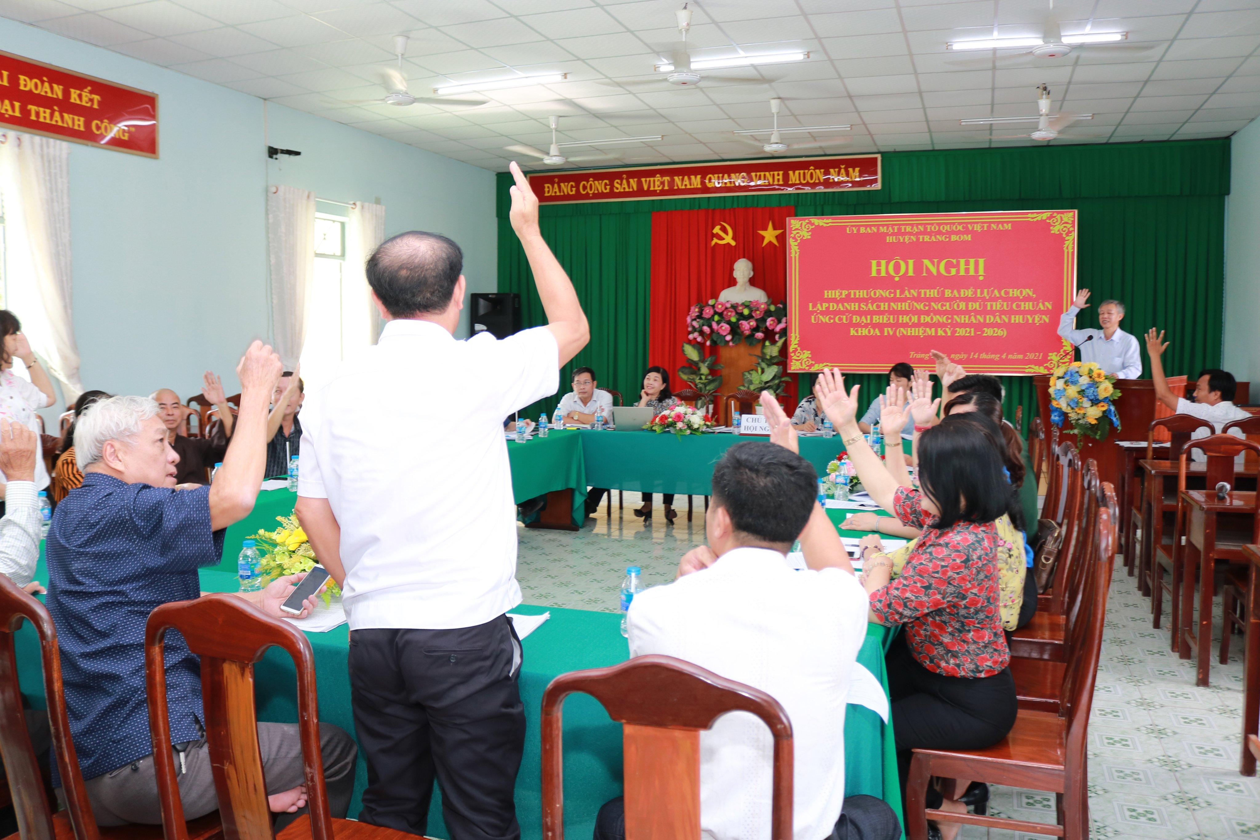 Trảng Bom thông qua danh sách 58 người ứng cử đại biểu Hội đồng nhân dân huyện khóa IV , nhiệm kỳ 20...